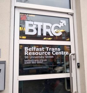 The front door of the Belfast Trans Resource Centre
